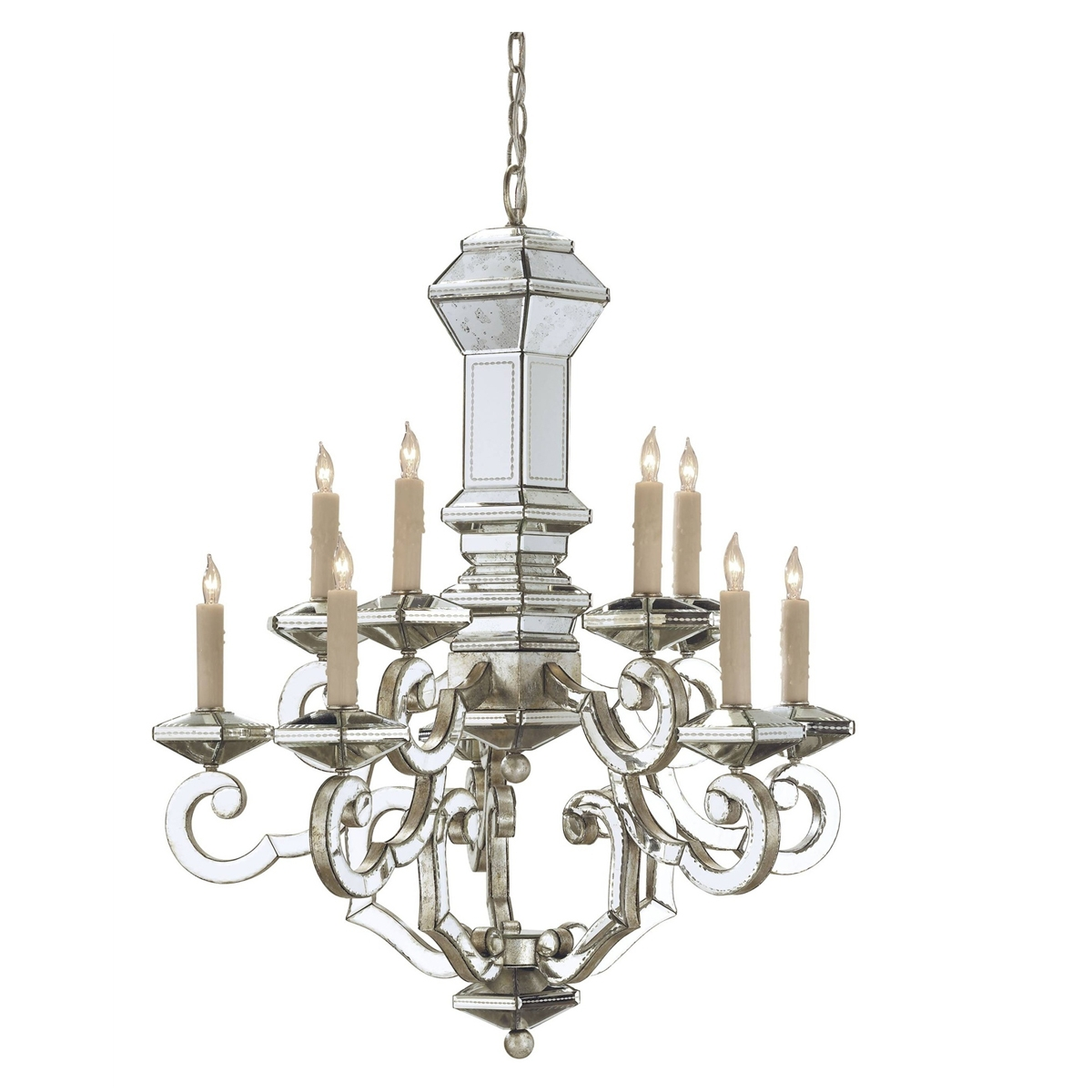 Mirrored Venetian Chandelier Belle Escape Pertaining To Antique Mirror Chandelier (Image 8 of 15)