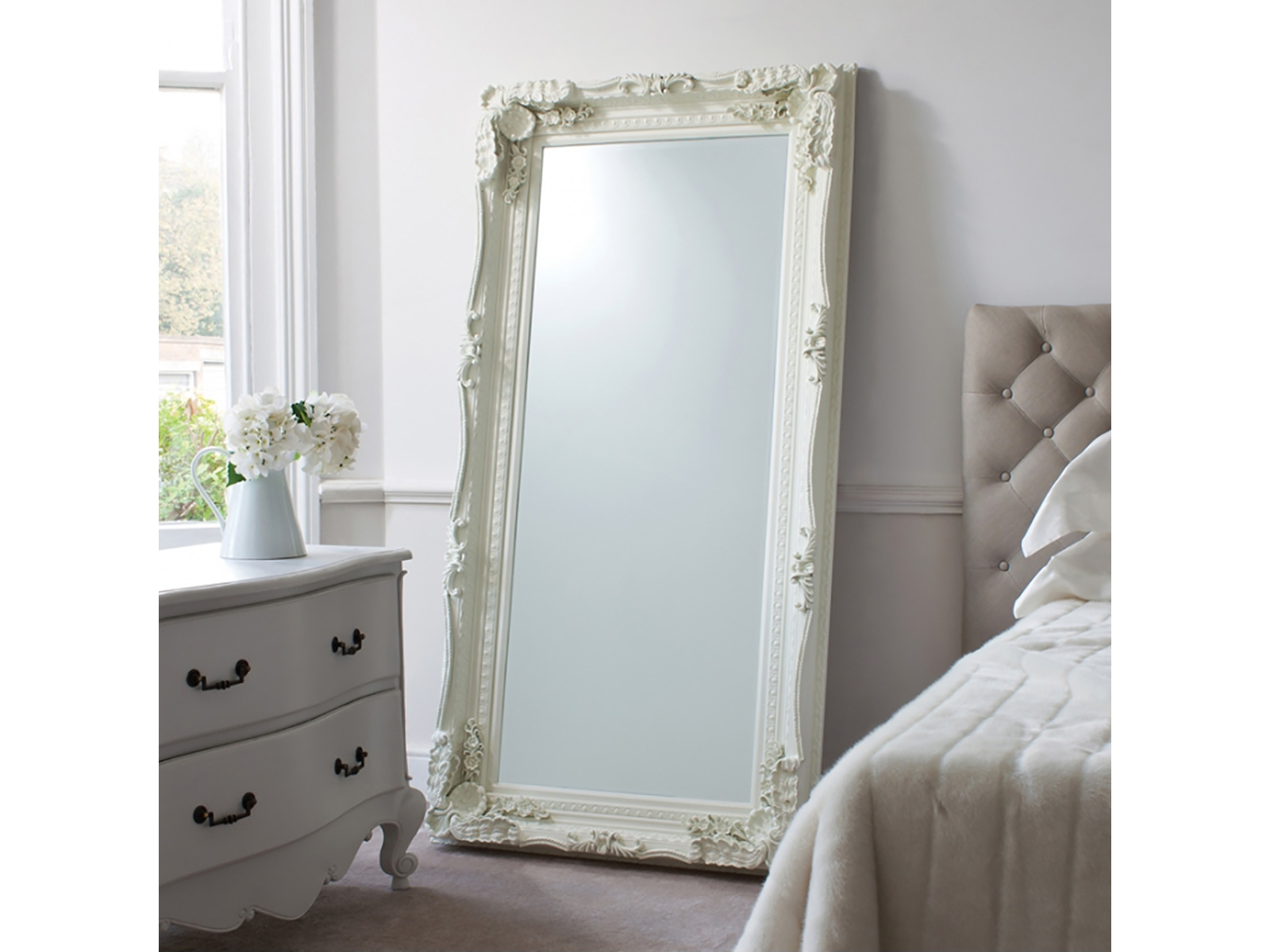 Mirrors Carved Louis Leaner Mirror Cream 69×35 Mirrors Cousins Regarding Large Cream Mirror (Image 14 of 15)