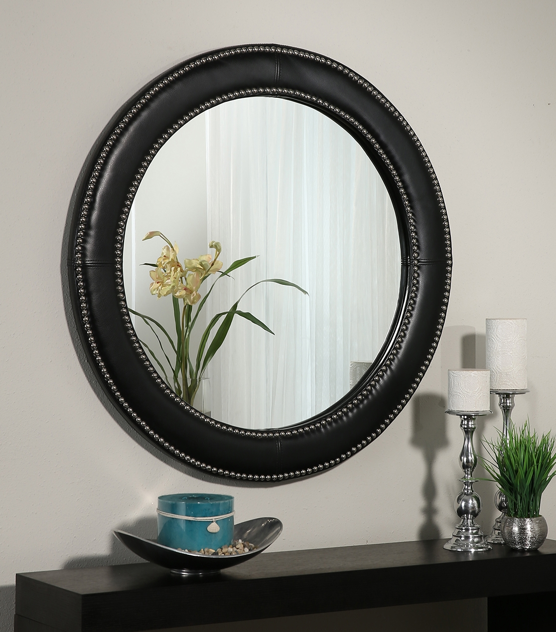 Mirrors Celine Black Leather Round Wall Mirror Within Black Leather Framed Mirror (Image 10 of 15)