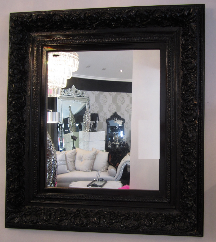 Mirrors Diva Rocker Glam Throughout Baroque Mirror Black (Image 11 of 15)
