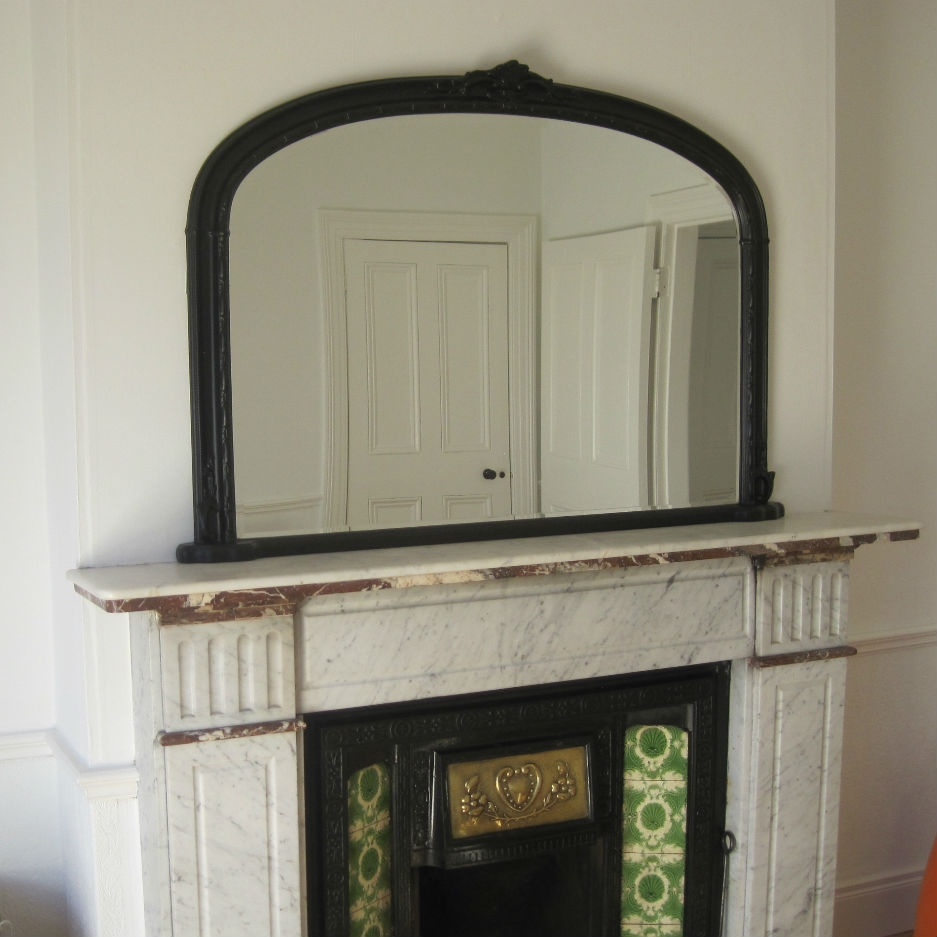 Mirrors Ireland Overmantle Black Mirror Arched Top Throughout Mantlepiece Mirrors (Image 9 of 15)