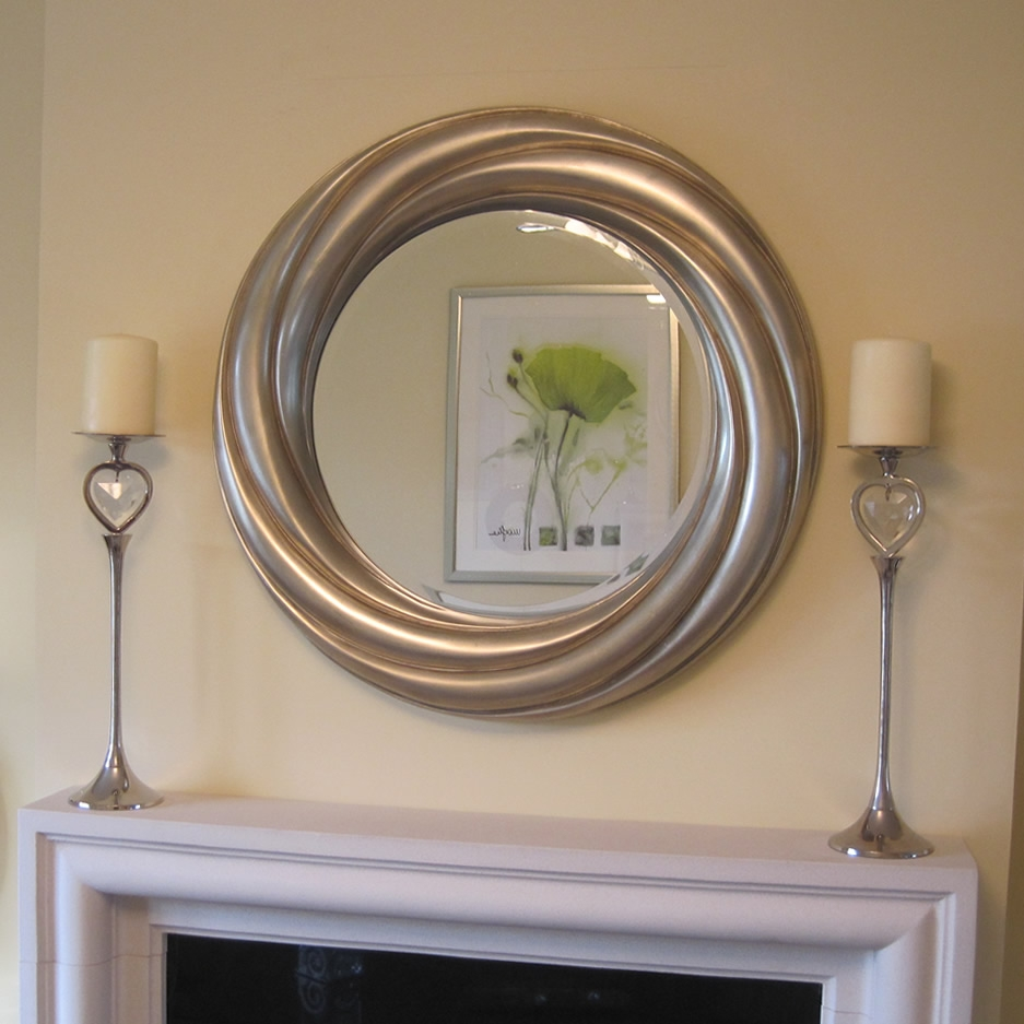 Mirrors Ireland Round Silver Bevelled Framed Mirror Intended For Silver Bevelled Mirror (View 12 of 15)