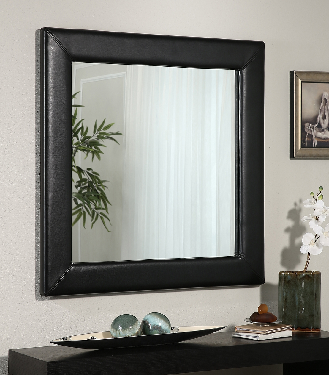 Mirrors Marlowe Black Leather Square Wall Mirror Intended For Leather Mirrors (View 8 of 15)