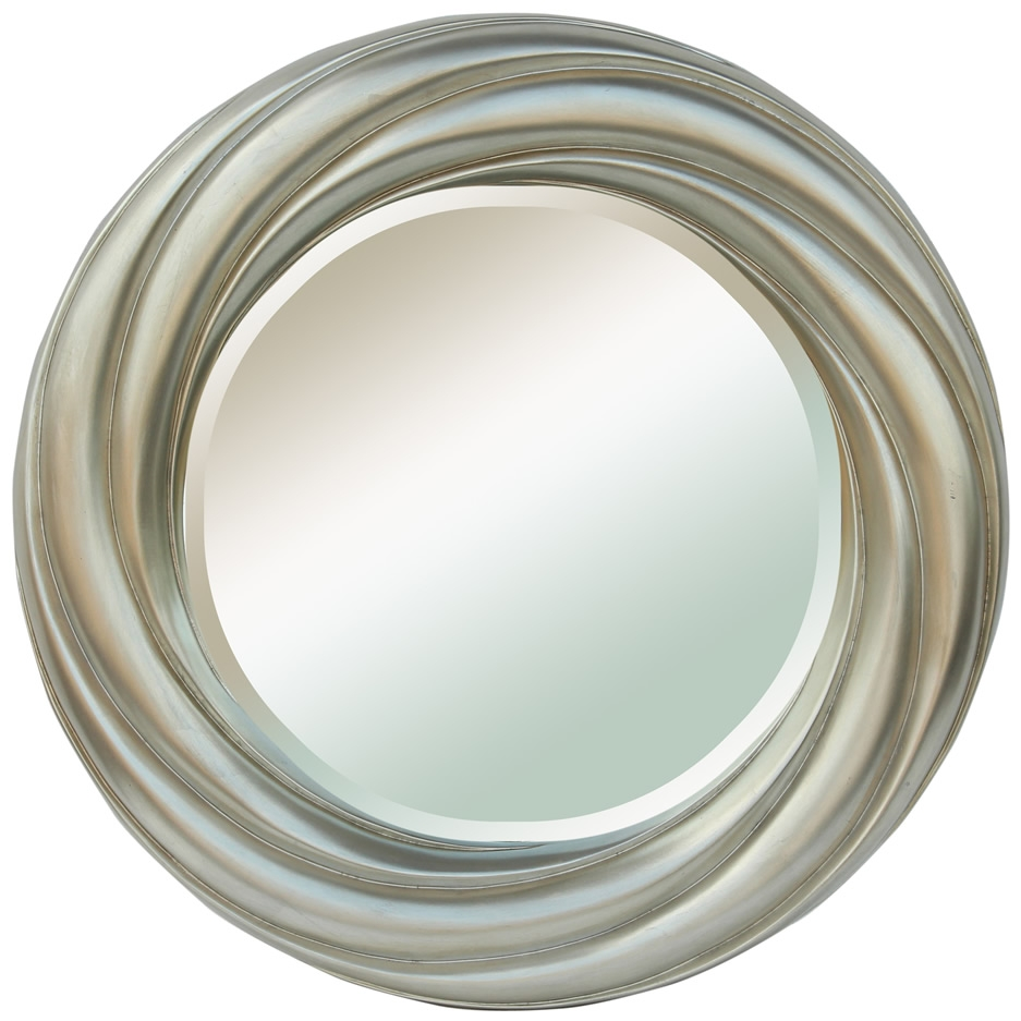 Mirrors Mirrors Ireland Round Silver Bevelled Framed Mirror Pertaining To Silver Round Mirrors (Image 10 of 15)