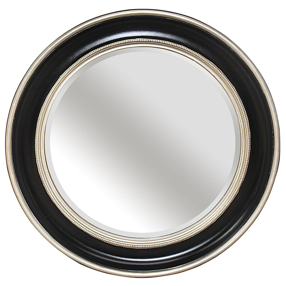 Mirrors Uk Ireland Round Blacksilver Bevelled Mirror Inside Black Circle Mirrors (Image 11 of 15)
