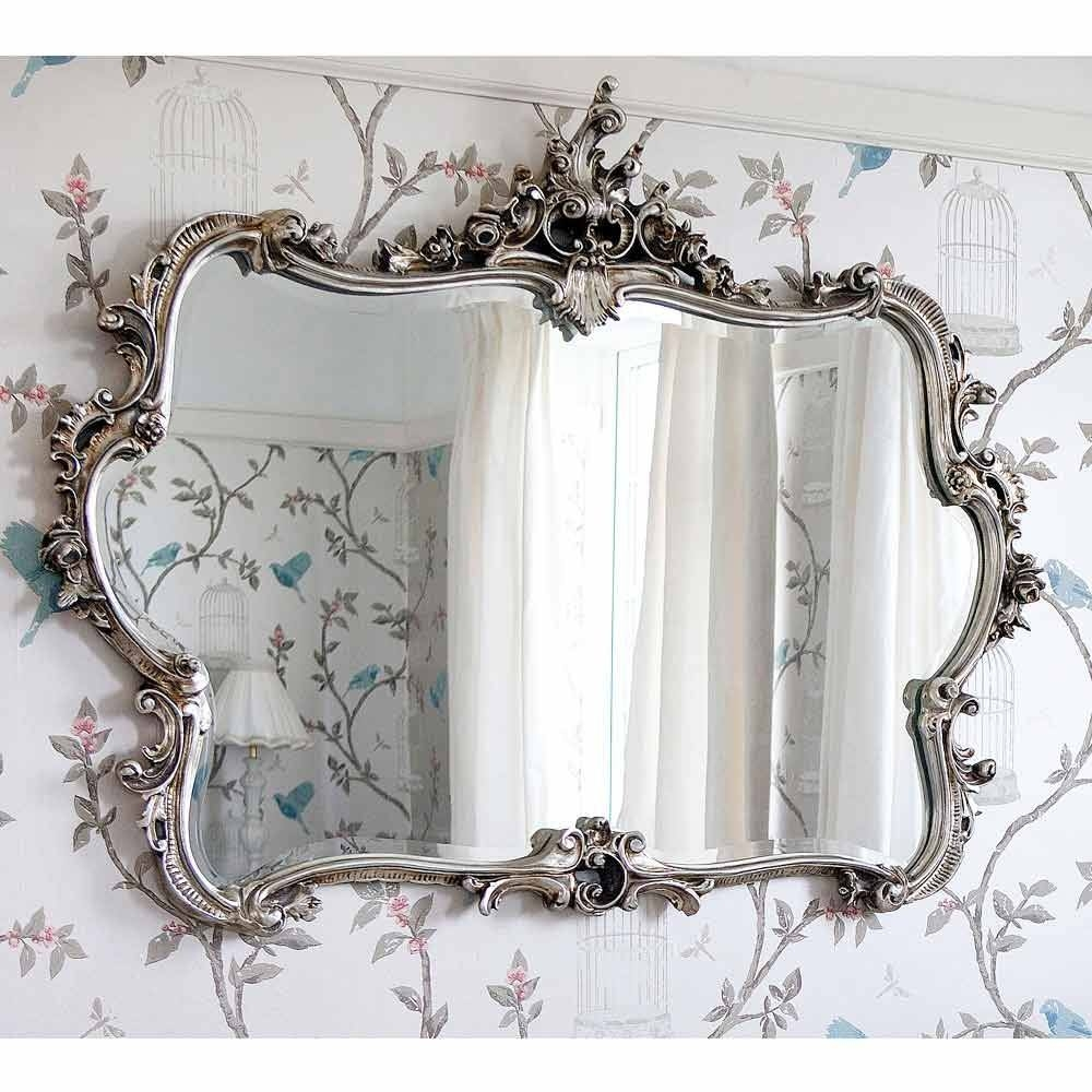 Miss Lalas Silver Looking Glass Luxury Mirror In Silver French Mirror (Image 9 of 15)