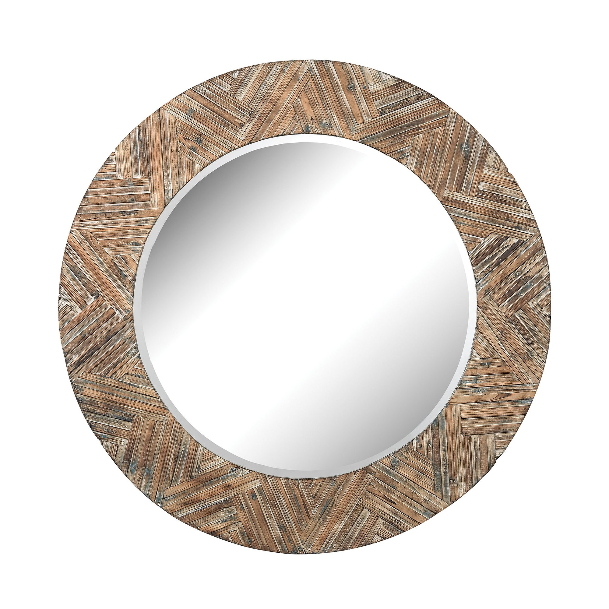 Mistana Large Round Wood Frame Wicker Mirror Wayfair Intended For Large Round Wooden Mirror (Image 8 of 15)