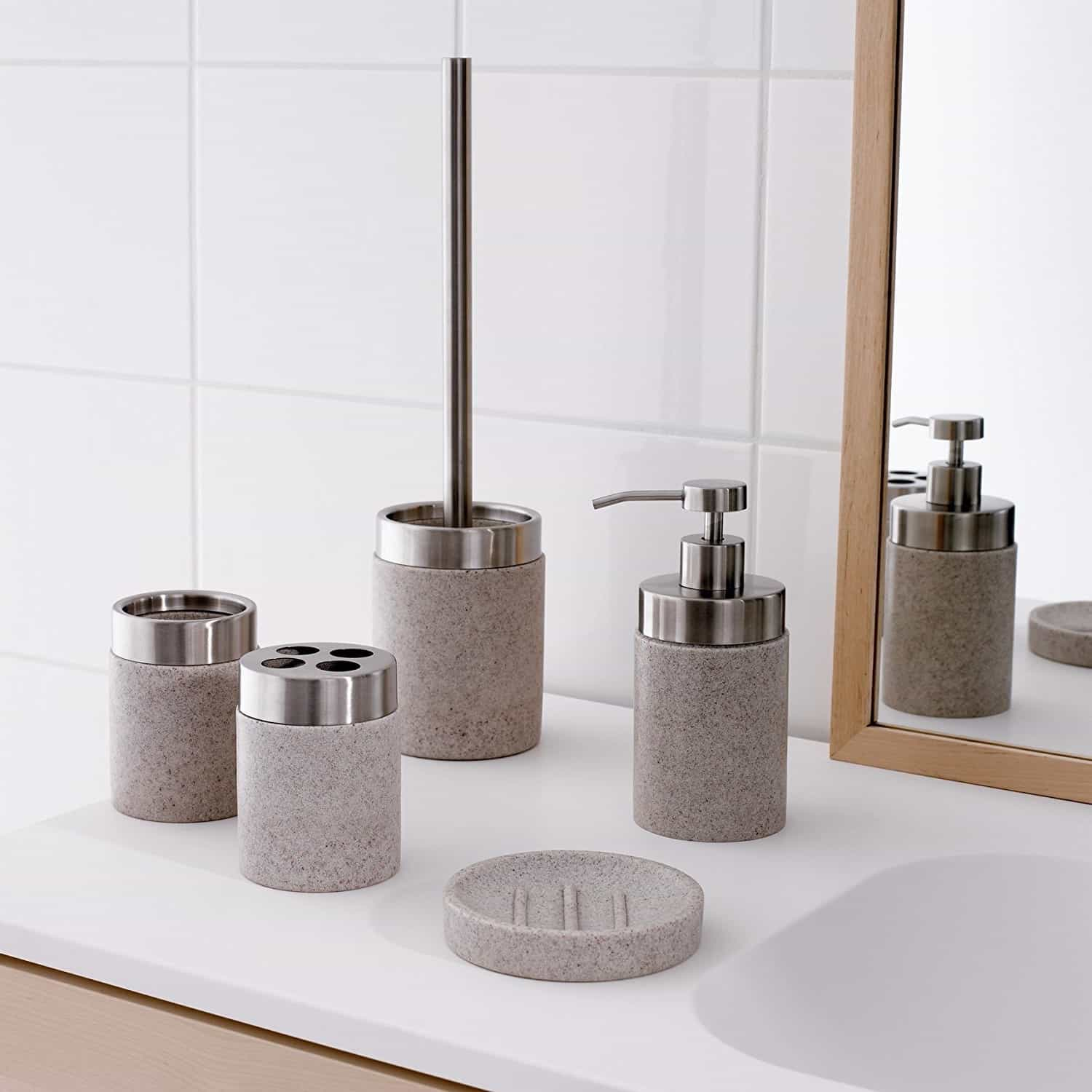 Modern Toothbrush Holder Set With Soap Dispenser And Dishes (Image 4 of 6)