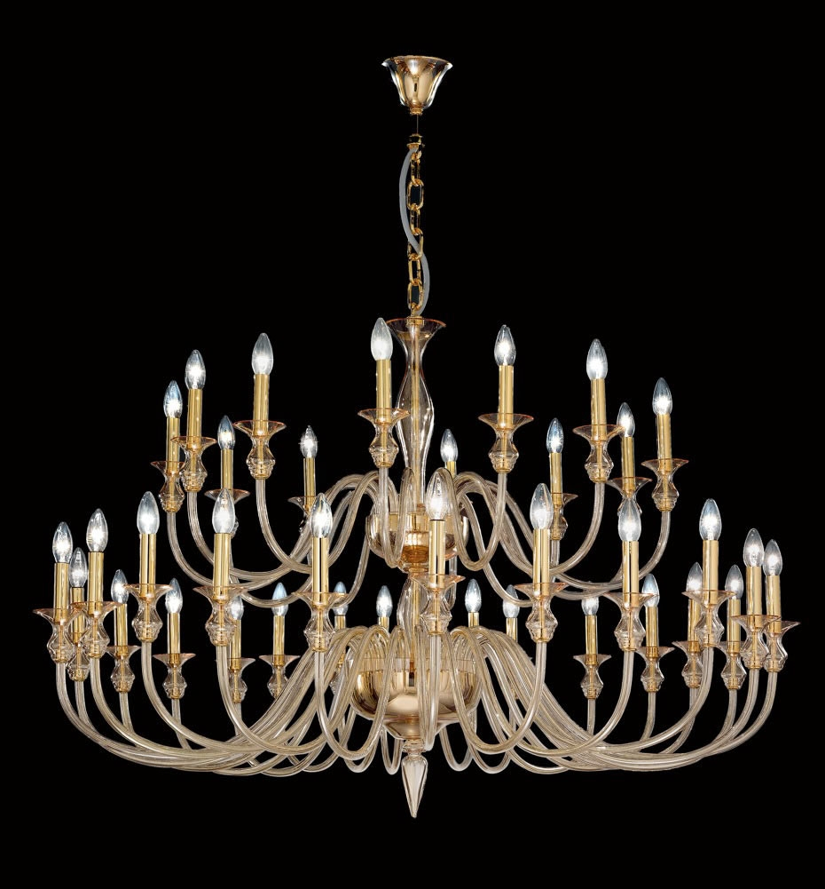 Modern Amber Murano Glass Chandelier With Gold Metal Finish Throughout Gold Modern Chandelier (Image 9 of 15)