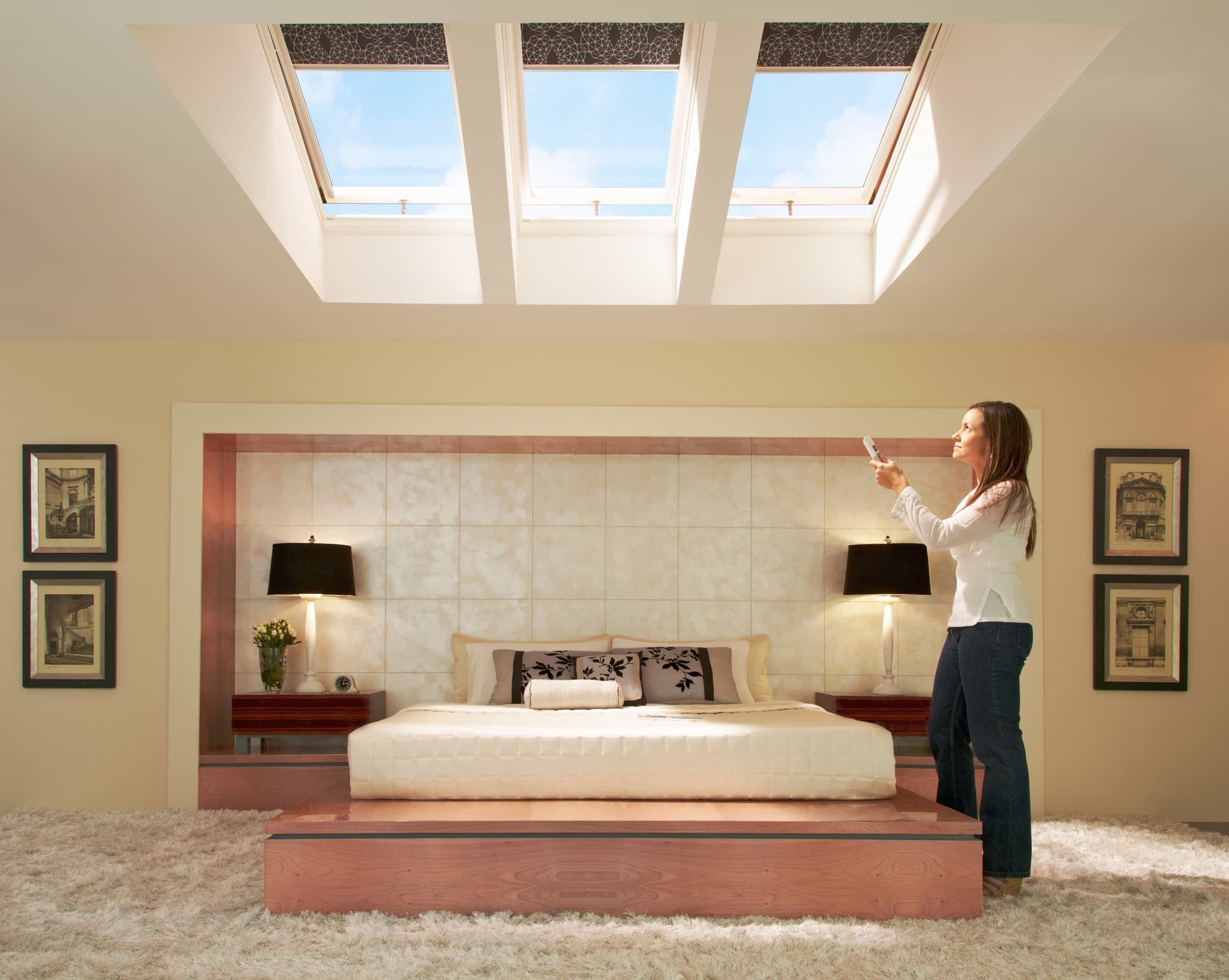Modern Automatic Blinds For Skylights Installed On Modern Bedroom (Image 12  of 25)