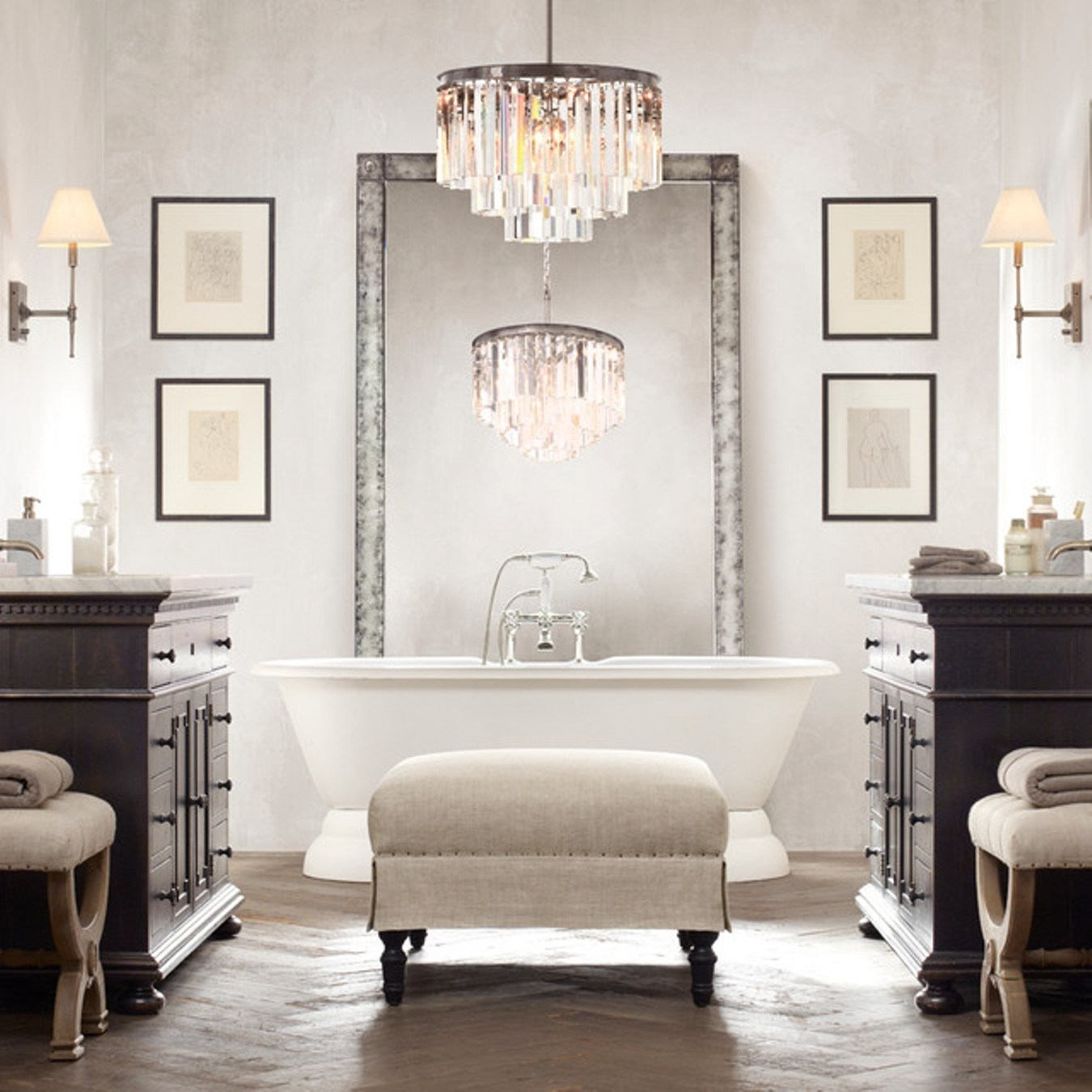 Modern Bathroom Bathroom Chandeliers Striking Small Decorative Within Chandelier In The Bathroom (Image 15 of 15)