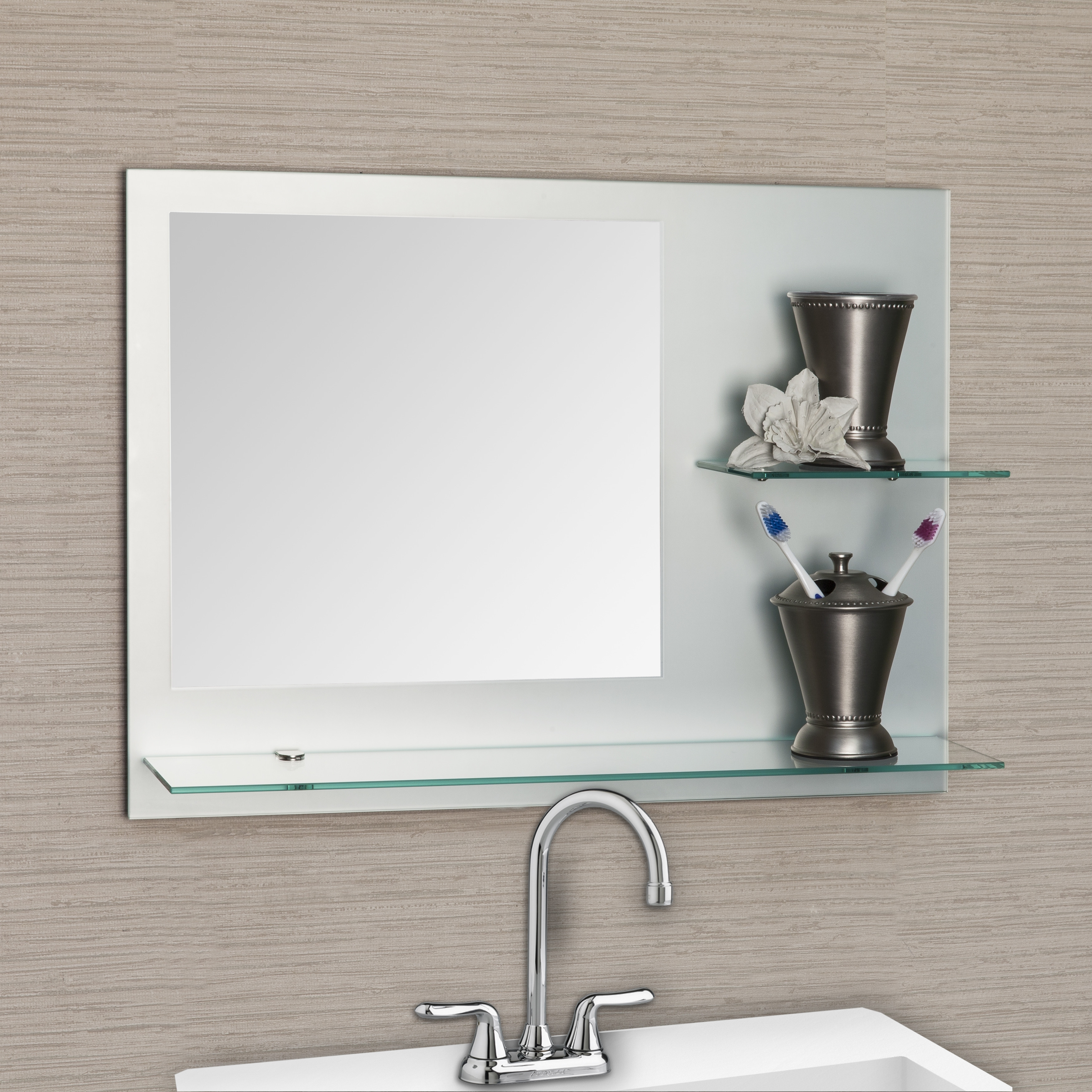 Modern Bathroom Mirror Fresca Vista Walnut Modern Bathroom Vanity For Odd Shaped Mirrors (Image 5 of 15)