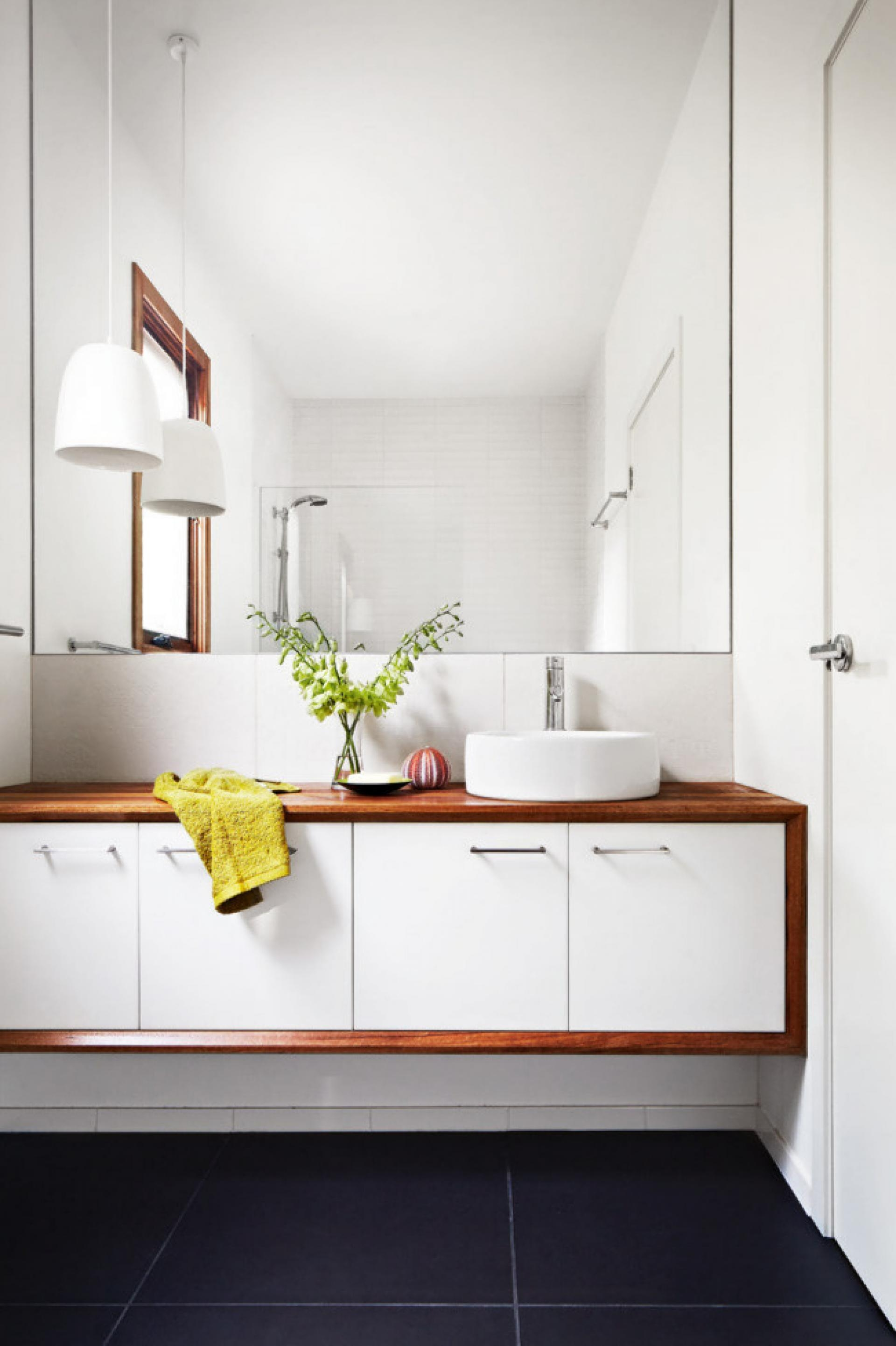Modern Bathroom With Grey Tiles White Vanity With Timber Accent With Contemporary White Mirror (Image 8 of 15)