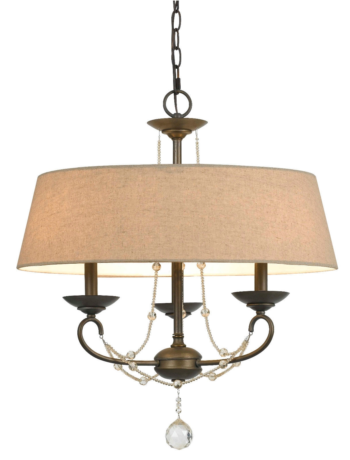 Modern Burlap Drum Shade Chandelier 3 Light Lamp Shade Pro Intended For Bronze Modern Chandelier (Image 10 of 15)