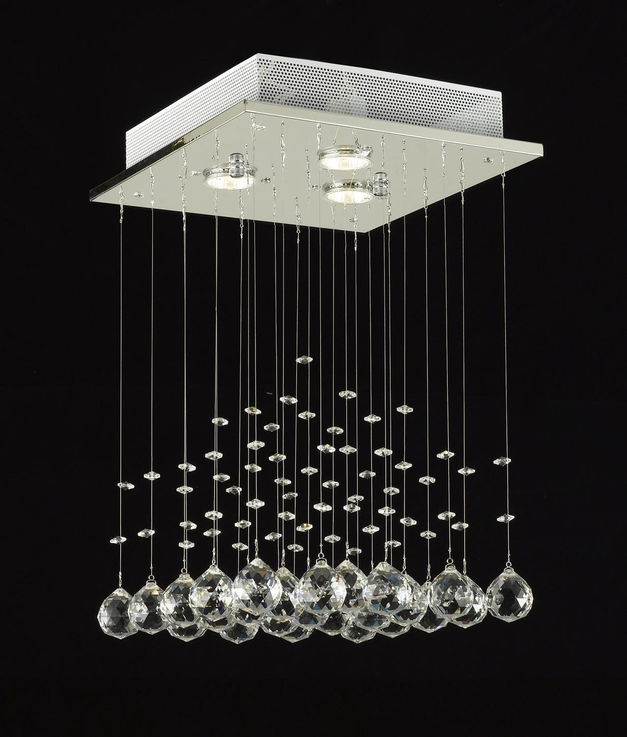 Modern Chandelier Rain Drop Lighting Crystal Ball Fixture Pendant Intended For Modern Small Chandeliers (Image 10 of 15)
