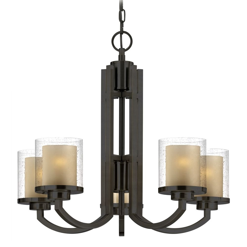 Modern Chandelier With Amber Glass In Bolivian Bronze Finish Throughout Modern Chandelier (Image 9 of 15)