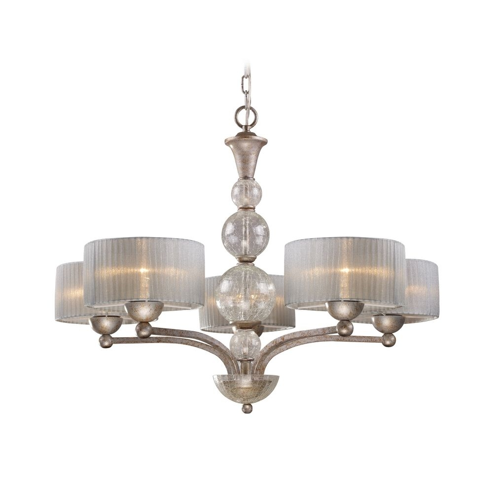 Modern Chandelier With Silver Shade In Antique Silver Finish Inside Modern Silver Chandelier (Image 11 of 15)