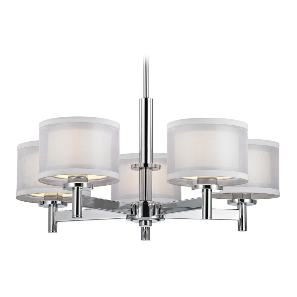Modern Chandelier With White Shades In Chrome Finish 1270 26 Pertaining To Modern Chrome Chandeliers (Image 12 of 15)