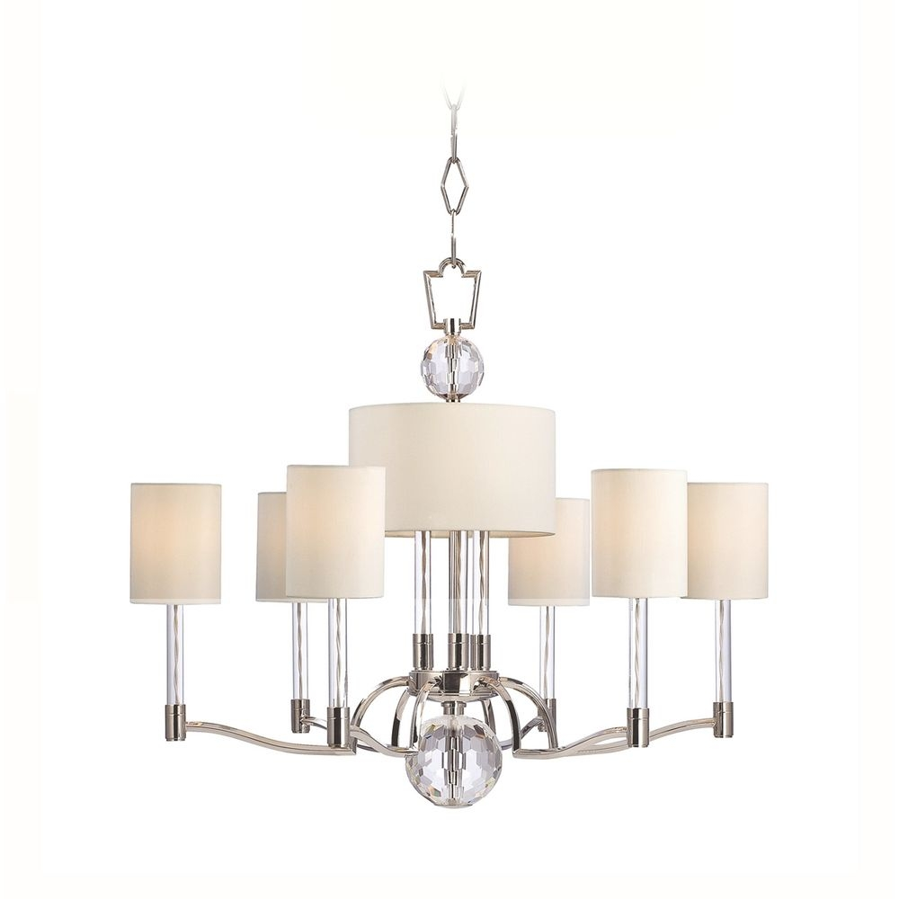 Modern Chandelier With White Shades In Polished Nickel Finish Intended For White Contemporary Chandelier (Image 11 of 15)