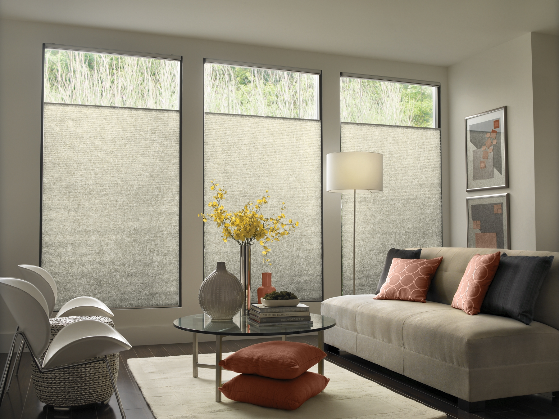 Modern Contemporary Window Treatments With Mid Century Modern Sofa Throughout Front Room Blinds (View 7 of 15)