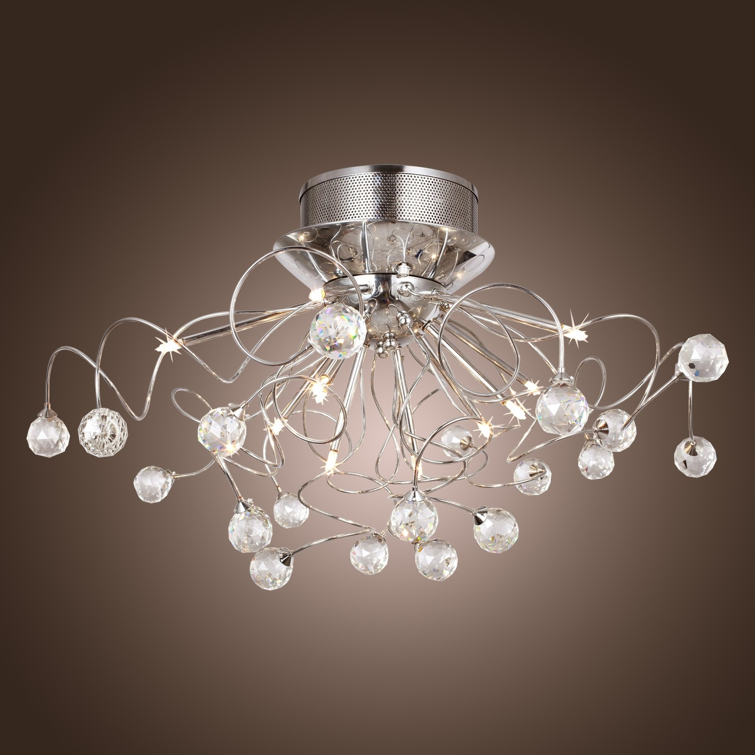 Modern Crystal Chandelier With 11 Lights Chrom Flush Mount Throughout Modern Light Chandelier (Image 8 of 15)