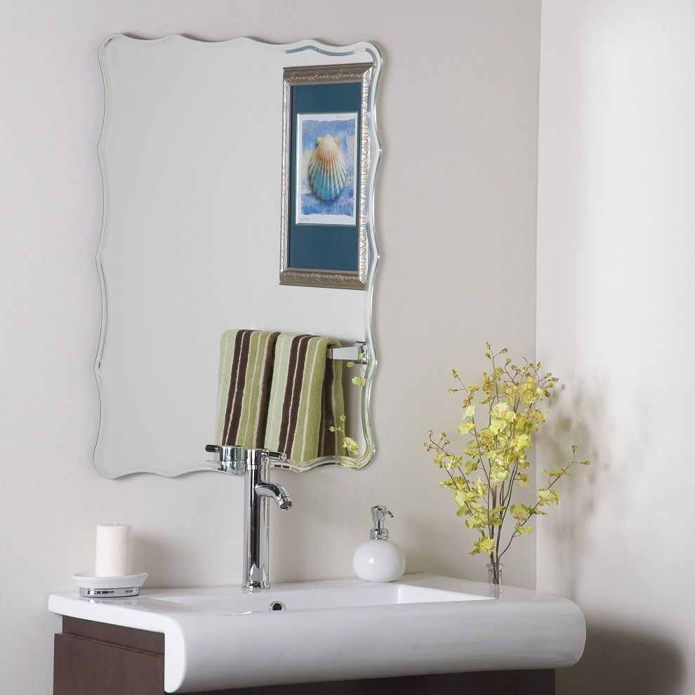 Modern Decor Ridge Rectangle Frameless Unframed Wall Mirror For Unframed Wall Mirror (Image 8 of 15)