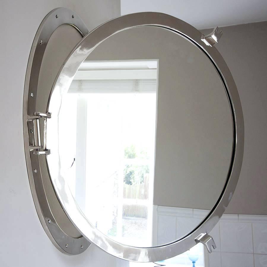 Modern Decorative Wall Mirror Chrome Porthole Horizontal In Chrome Porthole Mirror (Image 11 of 15)