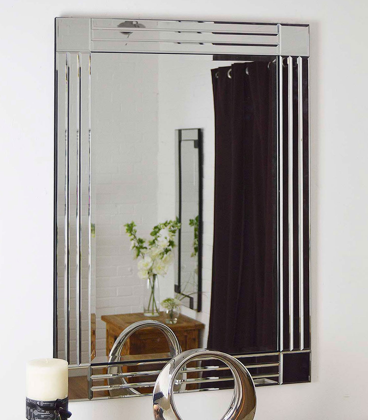 Modern Design Silver Bevelled Edge Venetian Wall Mirror 2ft4 X With Regard To Modern Bevelled Mirror (View 4 of 15)