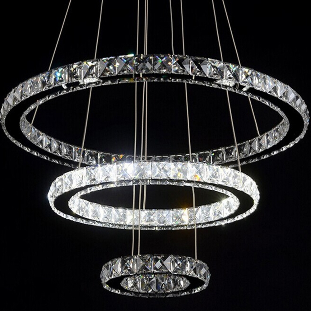 Modern Diamond Ring Led K9 Crystal Chandelier Light Fixture For Within Chandelier For Restaurant (Image 7 of 15)