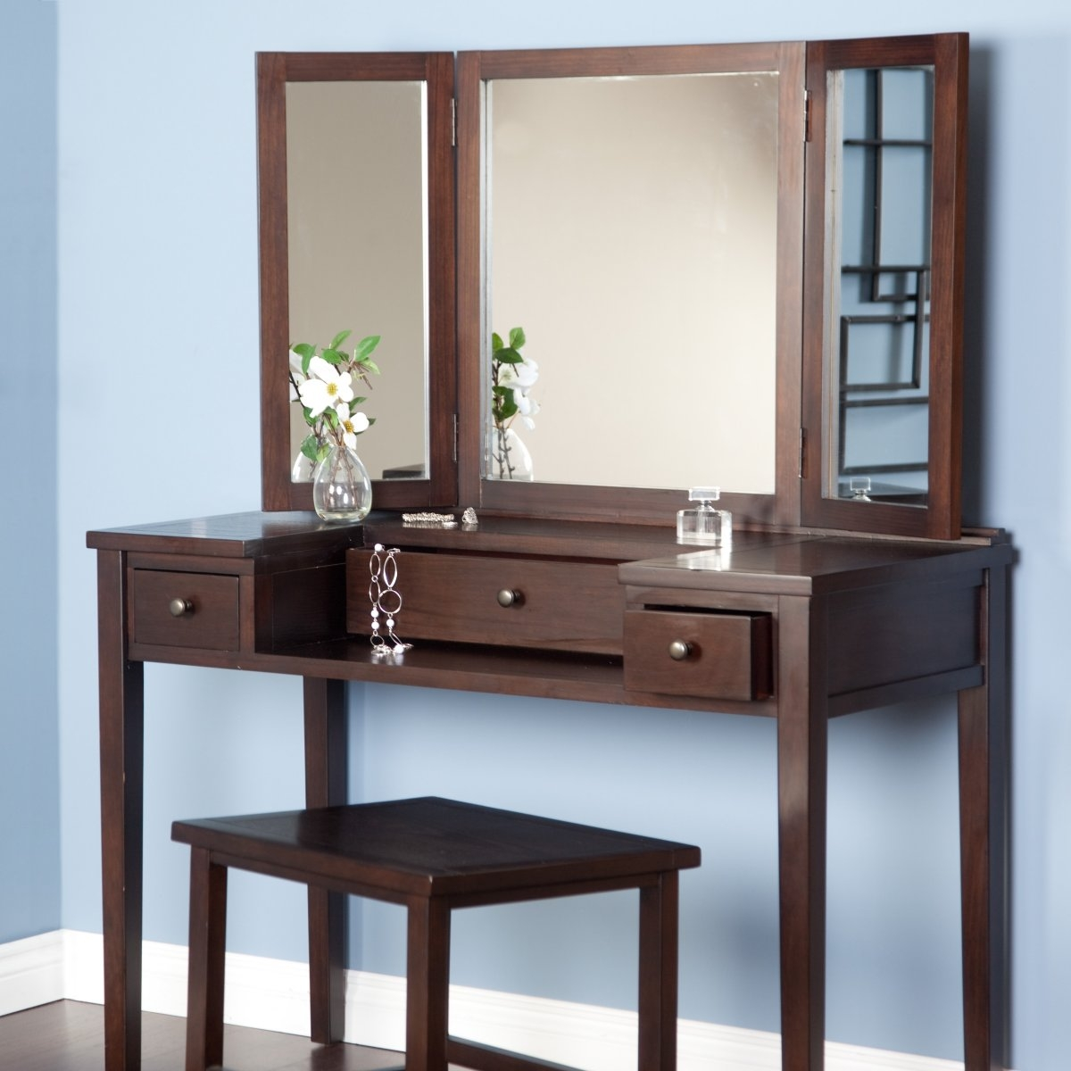 Modern Dressing Table With Mirror Pertaining To Contemporary Dressing Table Mirrors (Image 12 of 15)