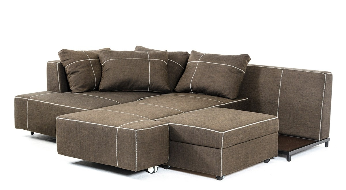 Modern Fabric Sectional Sofa W Chaise With Regard To Fabric Sectional Sofa (Image 8 of 15)