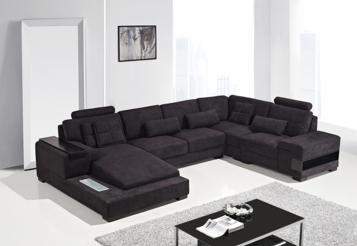 Modern Fabric Sectional Sofa Within Fabric Sectional Sofa (Image 9 of 15)