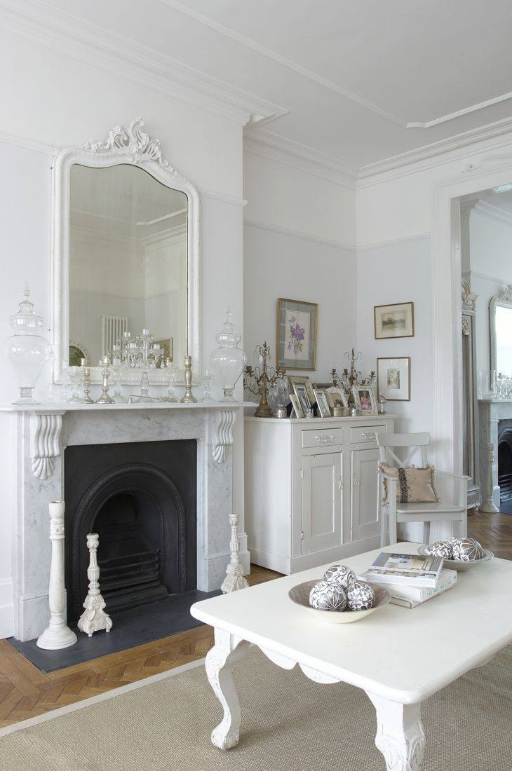 Modern Farmhouse The Most Heavenly White House With Its Pale Within Above Mantel Mirrors (Image 13 of 15)