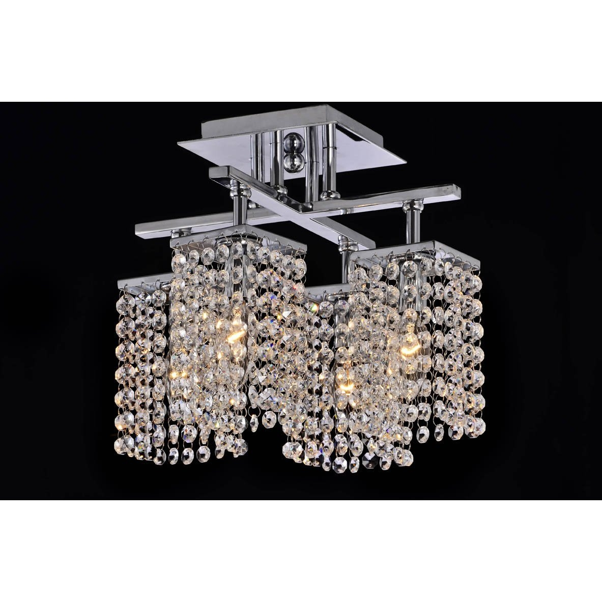 Modern Flush Chrome Crystal Chandelier Pendant Fixture Amazon Within Chrome Chandeliers (Image 12 of 15)