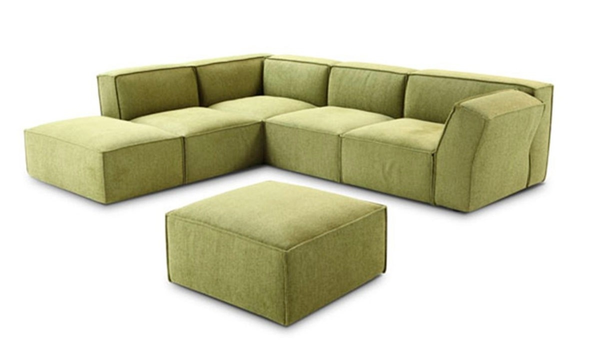 Modern Green Fabric Sectional Sofa Inside Fabric Sectional Sofa (Image 10 of 15)