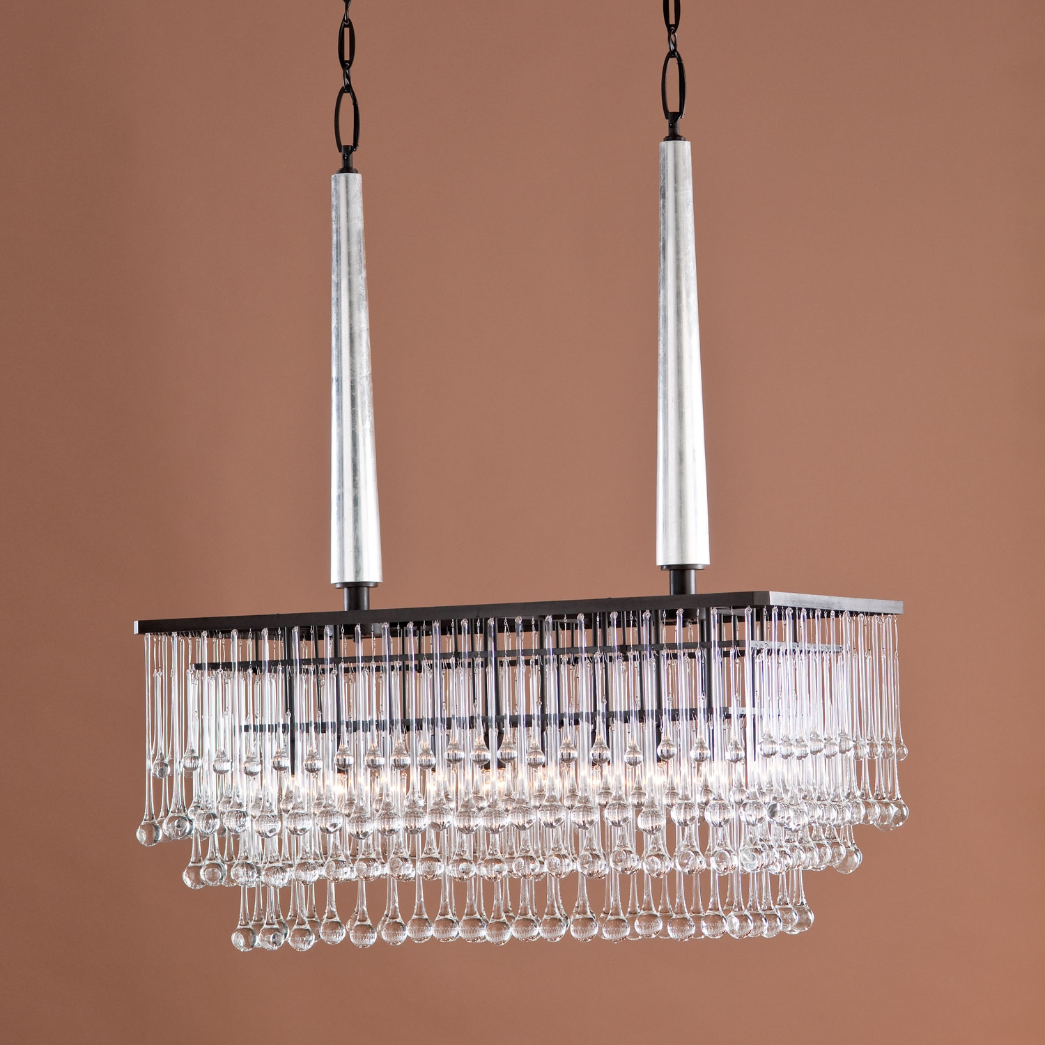 Modern Hanging Rectangular Chandelier With Bronze Frame And With Regard To Bronze Modern Chandelier (Image 13 of 15)