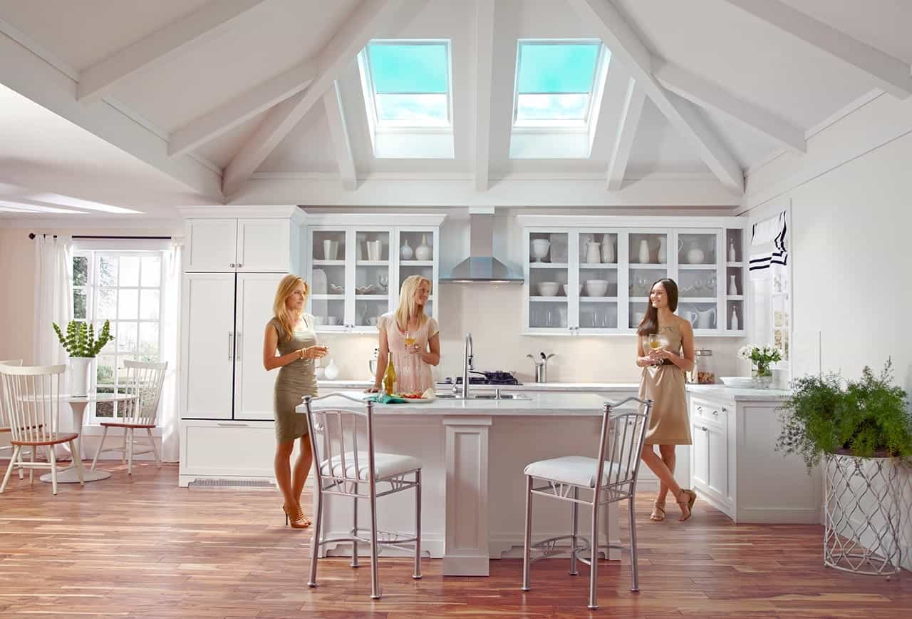 Modern Kitchen With Cozy Modern Sun Skylight Shades (Image 14 of 25)