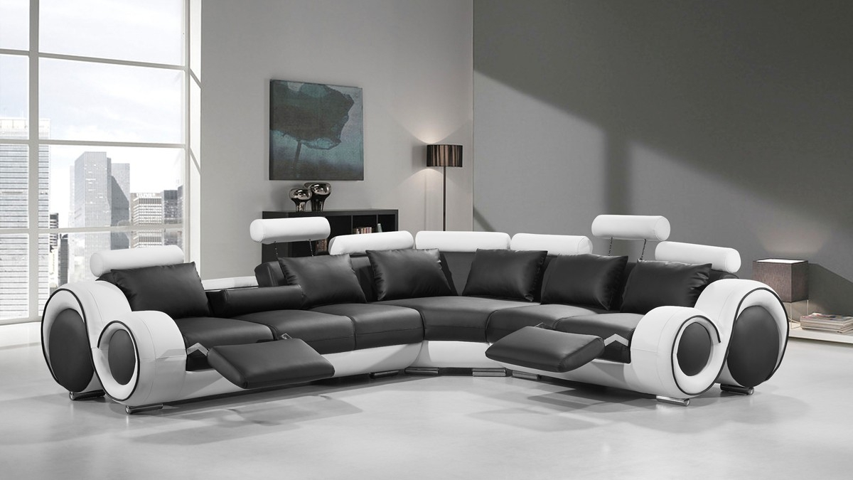 Modern Leather Sectional Sofa With Recliners Regarding Black And White Sectional Sofa (Image 12 of 15)