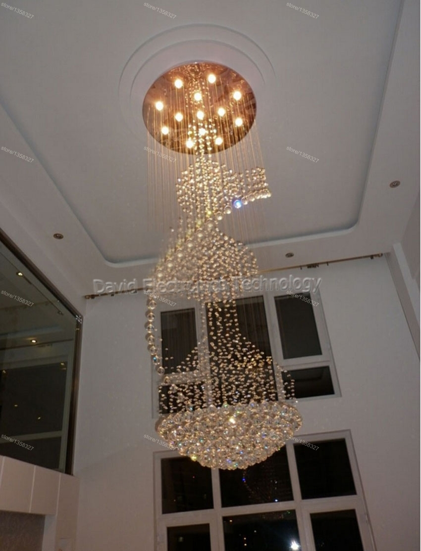 Modern Led Long Big Spiral Staircase Crystal Chandeliers Light With Long Hanging Chandeliers (Image 14 of 15)