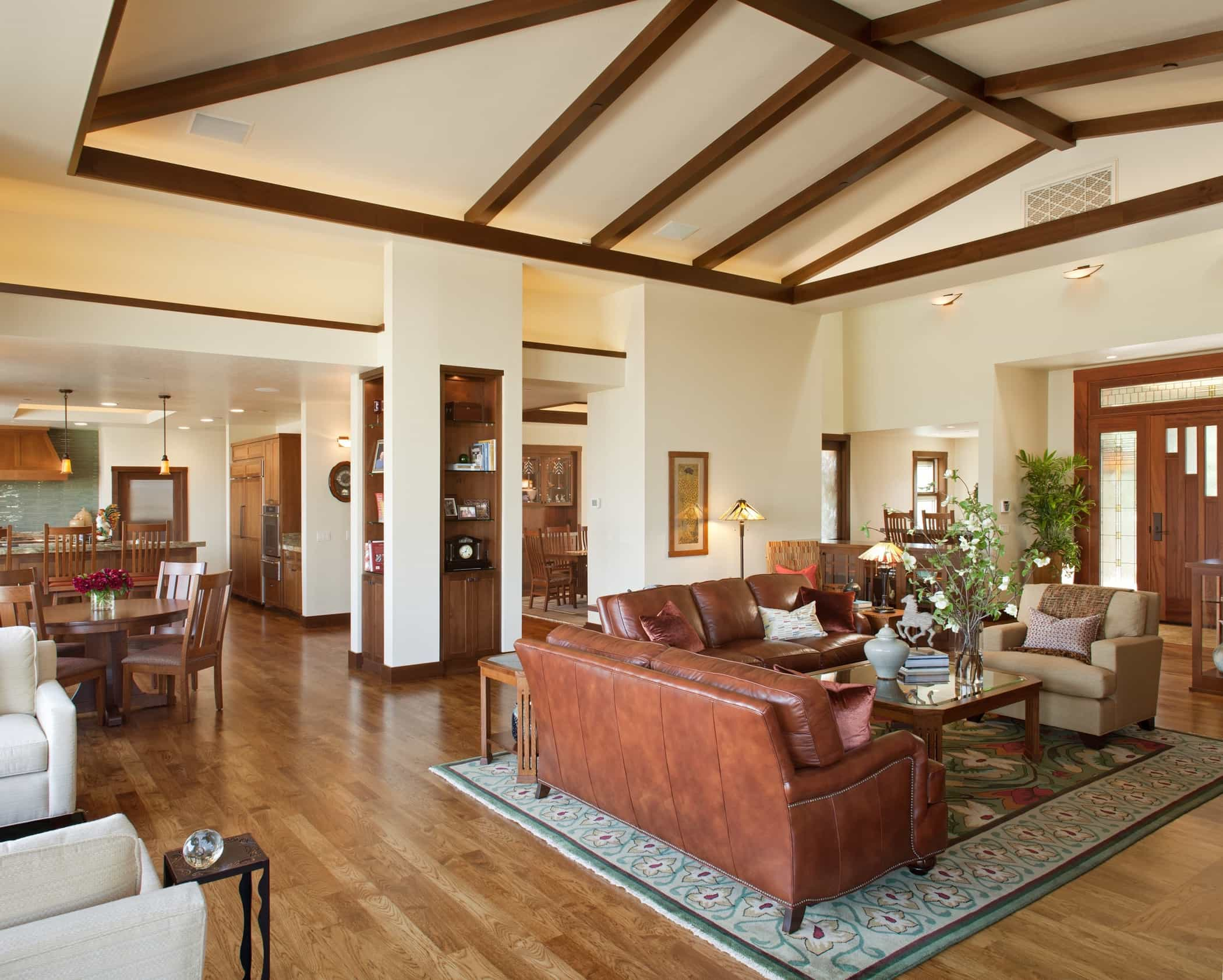 Featured Image of Modern Living Room With Vaulted Dark Stained Wood Ceiling Beams