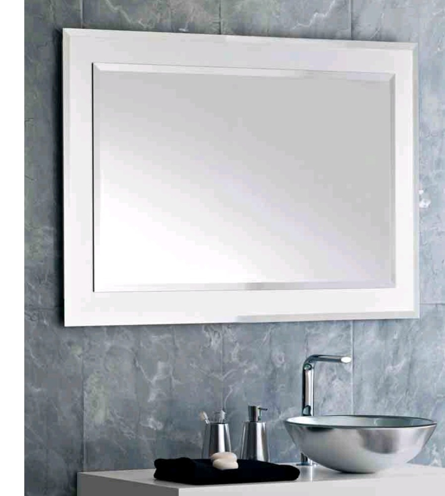 Modern Mirrors For Bathroom Pertaining To Contemporary White Mirror (Image 9 of 15)