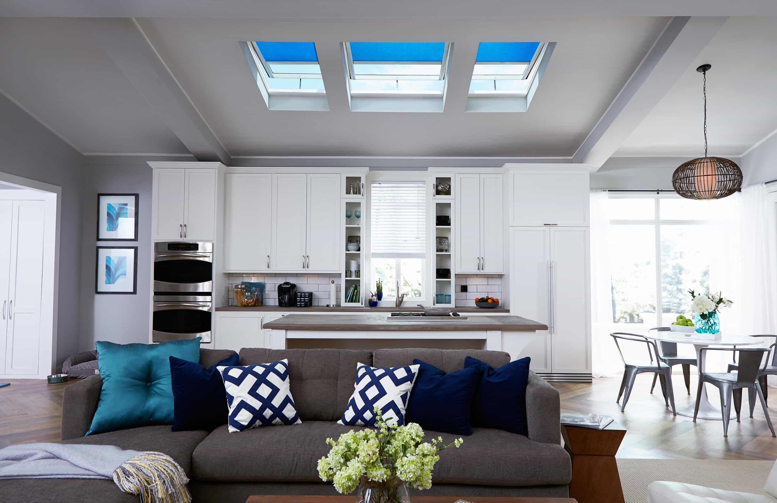 Modern Motorized Skylight Blackout Shade For Modern Open Space Living Room (Image 15 of 25)