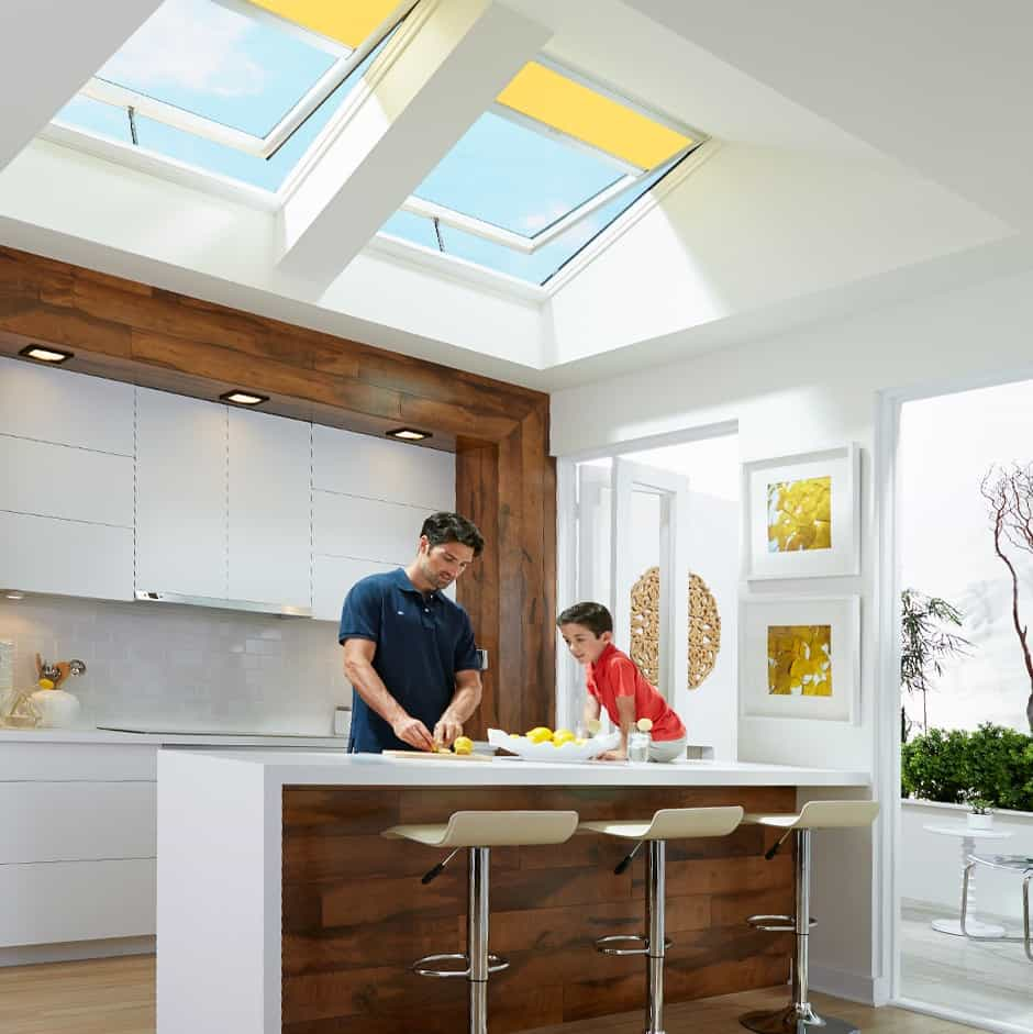 Modern Motorized Skylight Shades For Contemporary Kitchen (Image 16 of 25)
