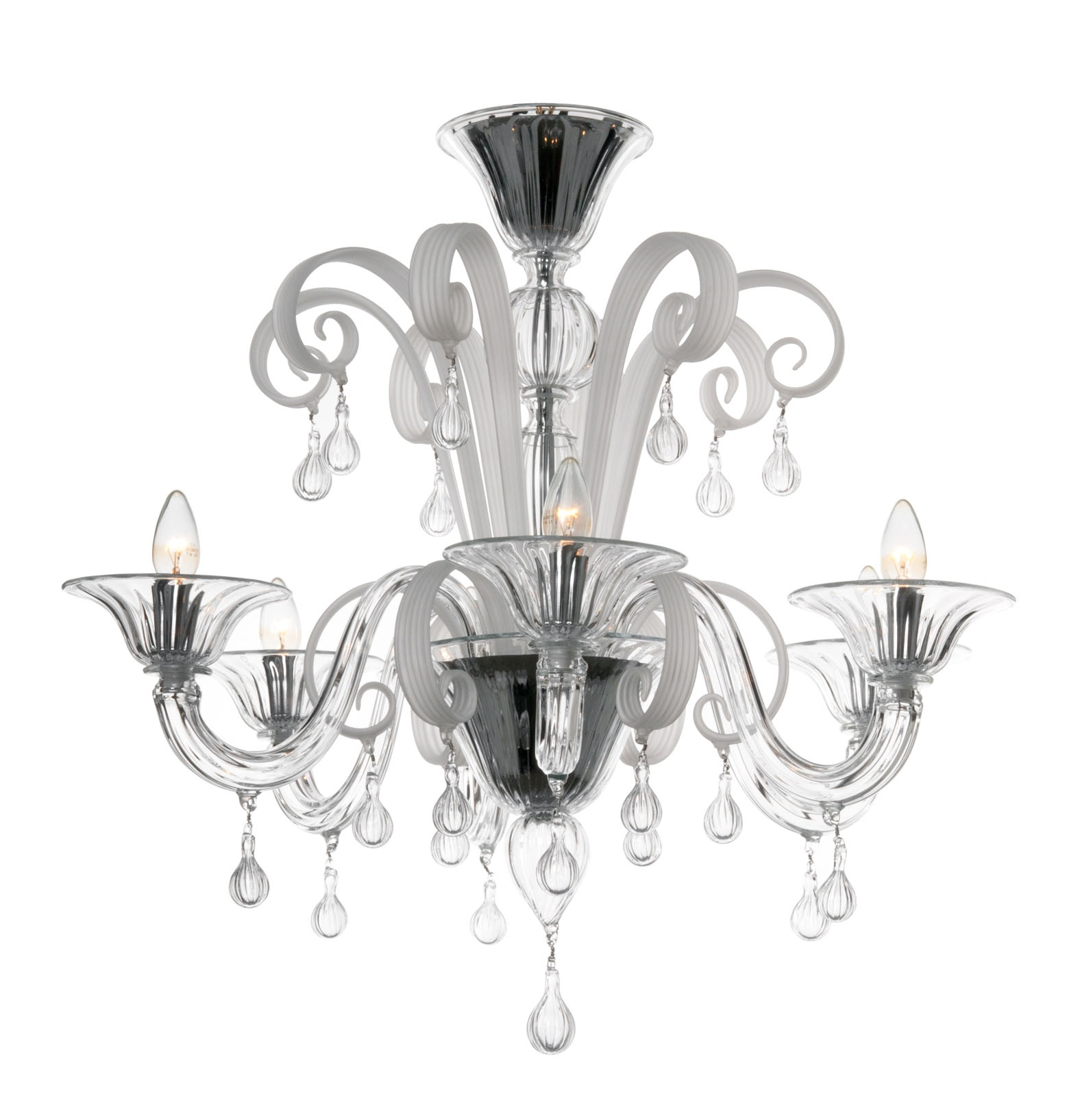 Modern Murano Chandelier S5030l6 Clear White Glass Murano For Modern White Chandelier (Image 11 of 15)