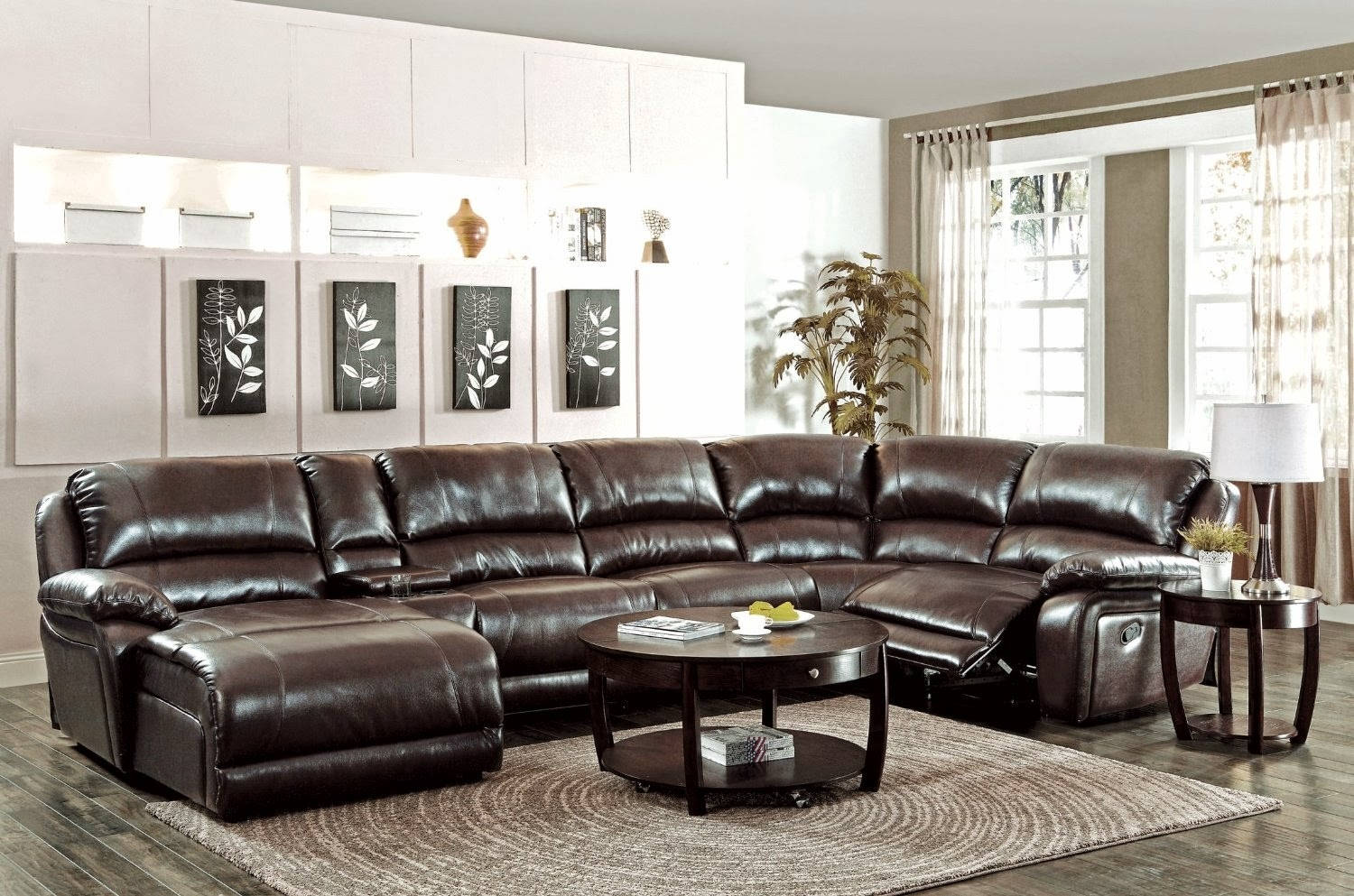 Modern Reclining Couches Reclining Leather Couches Pertaining To 6 Piece Leather Sectional Sofa (Image 7 of 15)