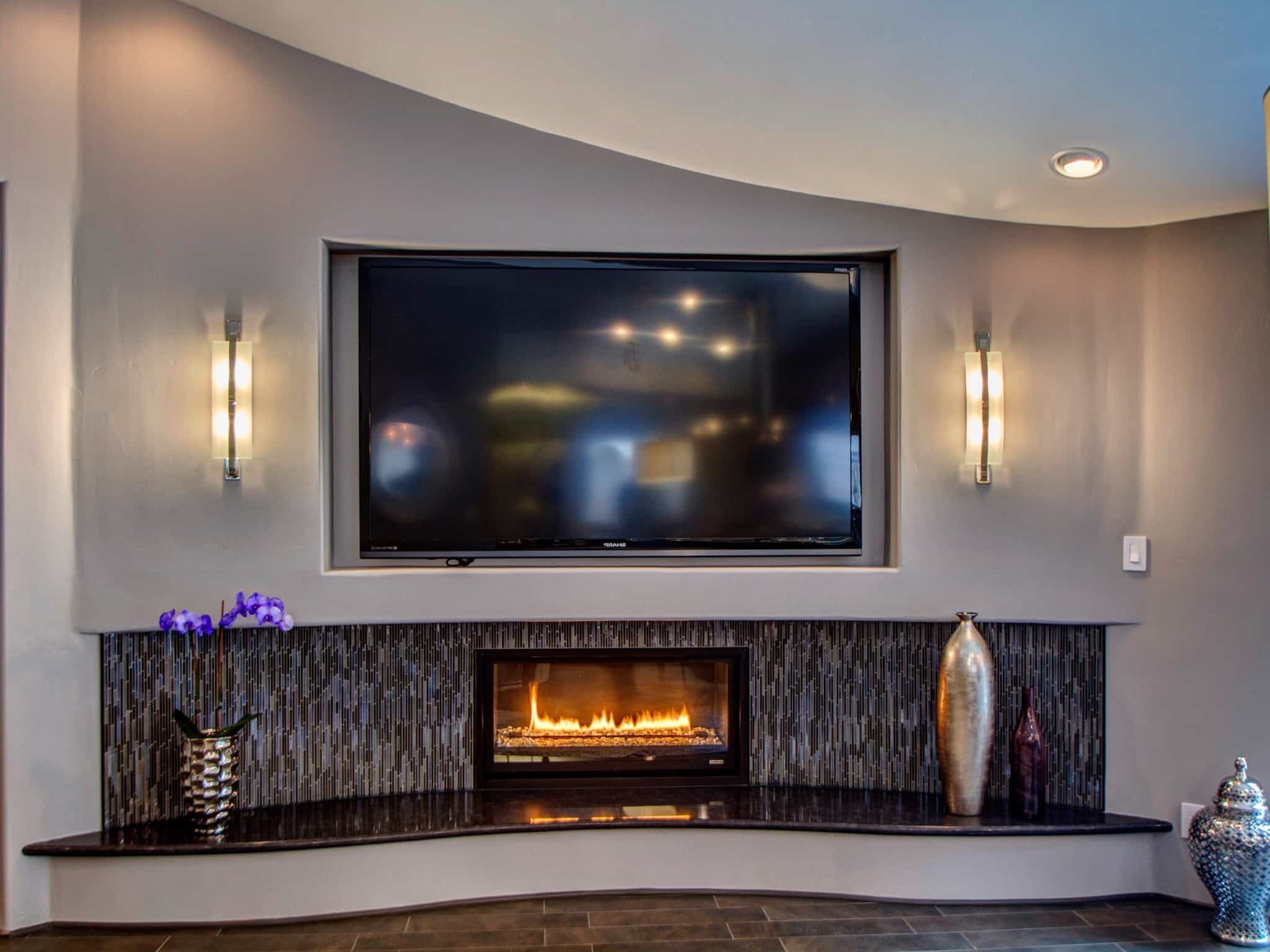 Featured Image of Modern Shiny Mosaic Tile The Black Quartz And Contemporary Gas Fireplace