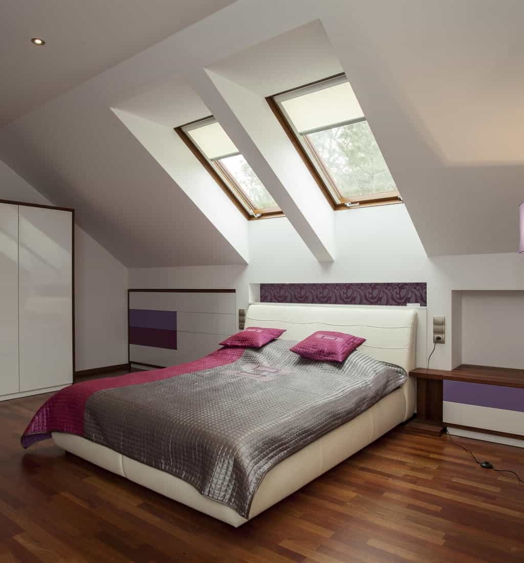 Modern Skylight Blinds For Contemporary Attic Bedroom Interior (Image 17 of 25)