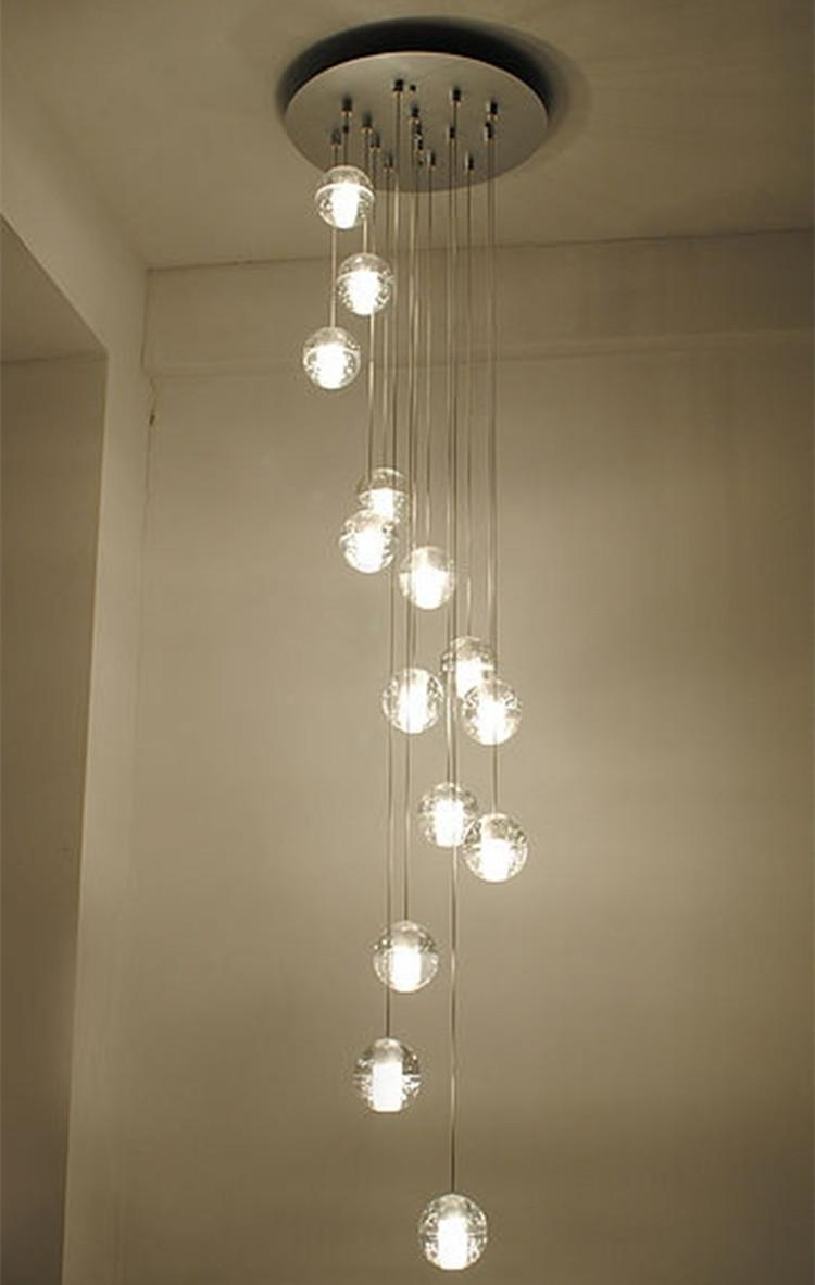 Modern Stairwell Led Chandelier Lighting Large Bubble Crystal Ball With Long Chandelier Lights (Image 12 of 15)