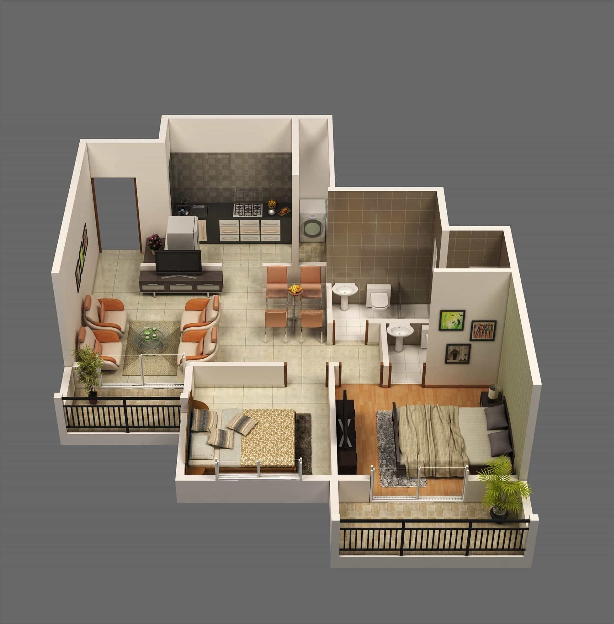 Modern Two Bedroom House Apartment Plans With Open Space Living Room 3D Layout (Image 13 of 17)