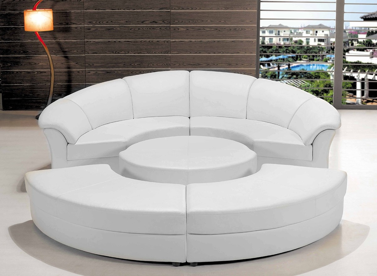 Modern White Leather Circular Sectional Sofa Pertaining To Circle Sectional Sofa (Image 11 of 15)